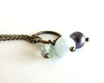 Necklace - Storm at Sea - Pearl, Amazonite and Aquamarine