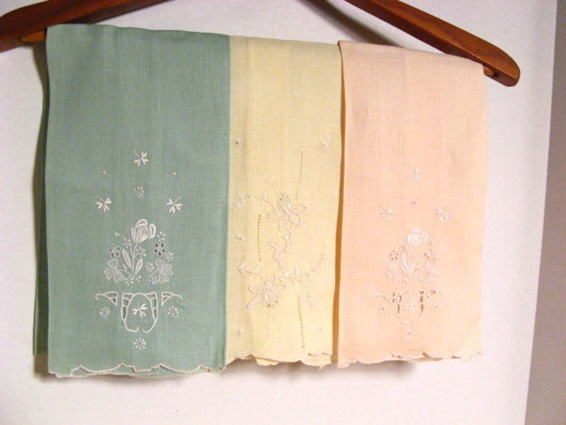 Vintage Pastel Tea Cloths Hand Embroidered Pastel Granny Chic image 0