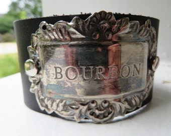 Bourbon Leather Cuff Bracelet Recycled Aged Nickel Silver Bottle Tag