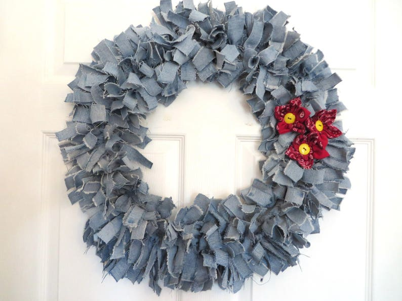 Recycled Denim Wreath With Bandanna Flowers image 0