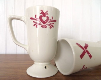 Vintage Hot Chocolate or Irish Coffee Mugs with Red Dutch Heart and Windmill Pattern