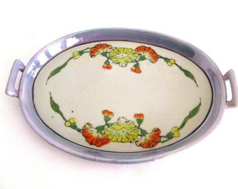 Vintage Decorative Hand Painted Plate Lusterware Spring Flowers and Leaves