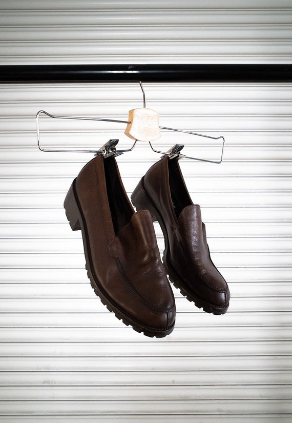 brown leather chunky loafers