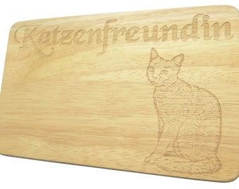 Breakfast Board cat girlfriend Engraving Wood-breakfast board-engraving-cat-text of your choice
