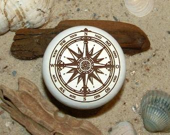 Furniture knob Windbreaker Compass rose engraving Maritim-furniture knob-compass rose-wind rose-engraving-incl. screw