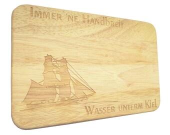 Brotbrett Breakfast Board brig sailing ship Engraving-Breakfast board-engraving-sailing ship-text of your choice