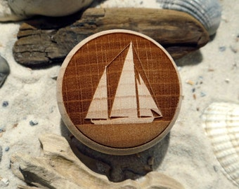 Furniture Knob Ketch Yacht sailor Engraving wood beech-furniture knob-Beech