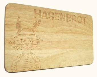 Breakfast Board Bunny Hasenbrot wish engraving wood-breakfast board-engraving-Rabbit-Text of your choice