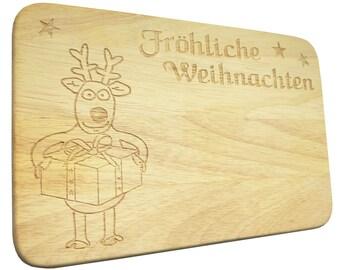 Breakfast Board Christmas Reindeer Brotbrett Wood-breakfast Board-engraving-Xmas-reindeer-text of your choice