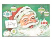 Vintage Christmas Card 1950s Santa Claus Greeting Ornaments Glitter