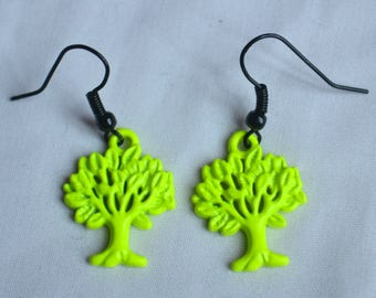 Neon Yellow Tree Earrings