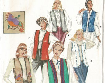 Butterick 3971 Misses Lined Vests Pattern or Bolero Sewing Patterns, Womens Size Medium Bust 34 36, with Unused Transfers for Appliques