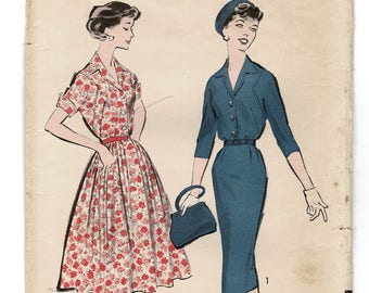 9895d15d2f Vintage 1950s Sewing Pattern for Womens Shirtwaist Dress w  Front Detail