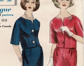 Vintage 1960s Vogue 5325 Easy Womens Sewing Pattern for 2-Piece Dress Stunning Top Tapered Slim Skirt, Misses Size 16 Bust 36 Unused