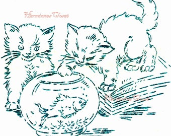 PDF KITTENS Hand Embroidery Transfers 6 Different PLAYFUL Cat Designs Reproduction Instant download digital pdf printable HemionesCloset