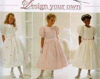 Simplicity 7487 1990s Girls Party Dress Sewing Pattern Puff Sleeves Full Skirt Petticoat Size 7 8 10 Chest 26 27 28 Easy Happy Easter, Uncut