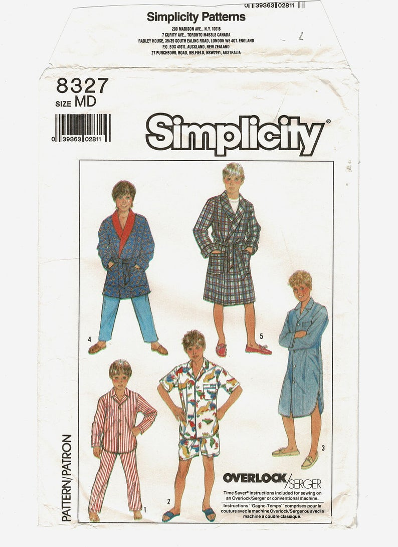 c5995fc9e35d Simplicity 8327 Boys Sewing Patterns Pajamas Top Pants | Etsy