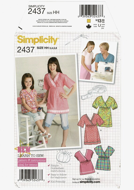 Simplicity Sewing Patterns 2437 Girls EASY Pullover Top Blouse | Etsy