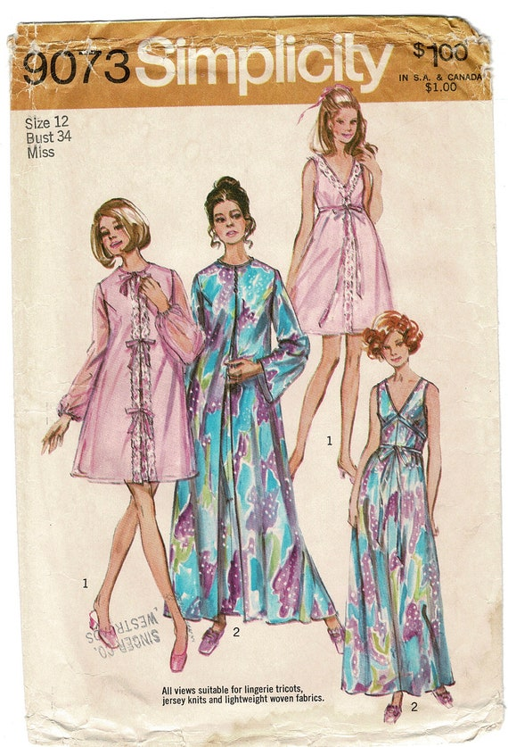 67e4d4f1a8 Simplicity 9073 Sewing Pattern for Womens Lingerie Peignoir