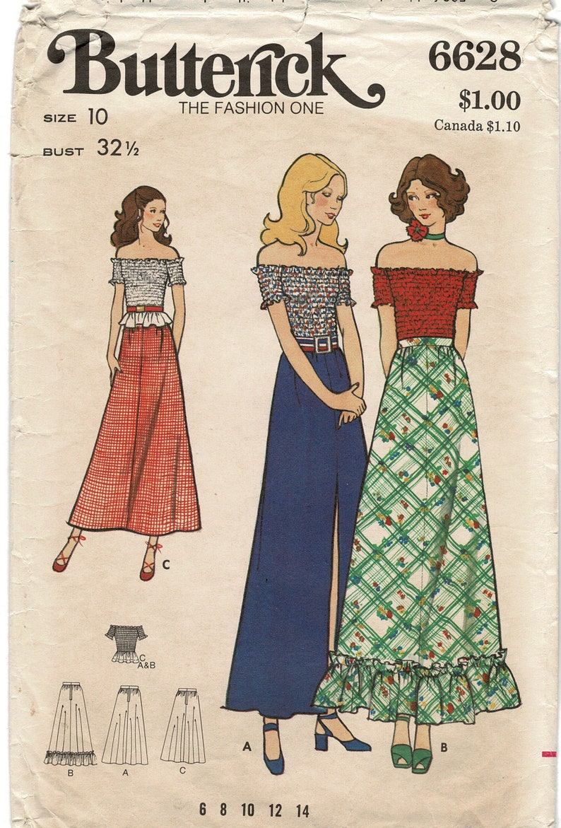 c17e3be34e3 Butterick 6628 Sewing Pattern for Maxi Skirt   Blouse Misses