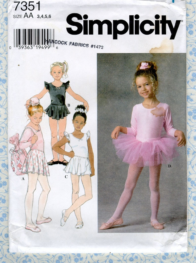 4c53248a7 Simplicity 7351 Girl Sewing Pattern Ballerina Costume Stretch