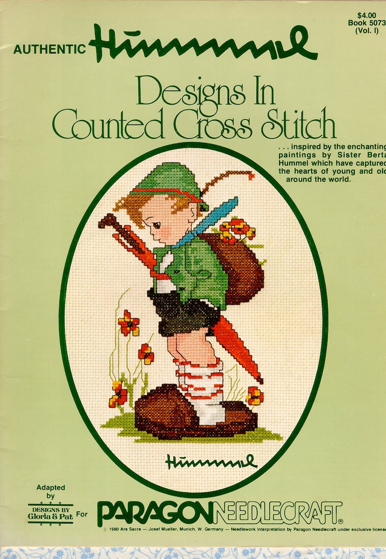 German Hummel Counted Cross Stitch Patterns of Children Folk Scenes  Embroidery Book 5073 Gloria & Pat, Vintage 1980 Out of Print