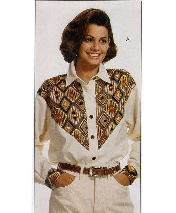 Misses Western Shirt Pattern Mccalls 6961 Cowgirl Blouse W Etsy