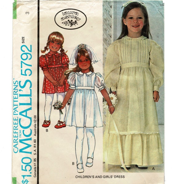 McCalls 5792 Toddler Flower Girls Dress Sewing Patterns | Etsy