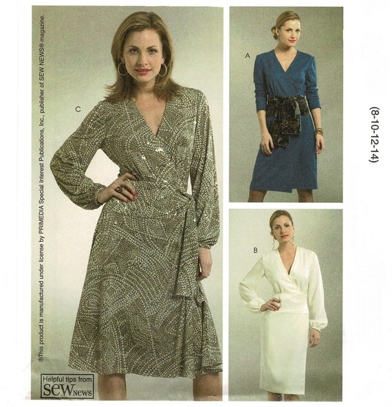 Uncut McCalls 5179 gt Womens Sewing Pattern, Fitted Wrap Around Prom Dress, Misses Size 8 10 12 14, Sew News printed paper