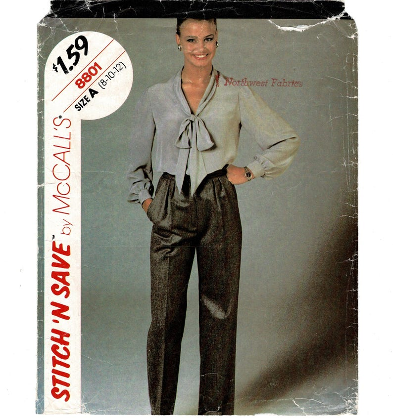 McCalls 8801 c Easy Sewing Pattern Womens Blouse Tie Collar image 0