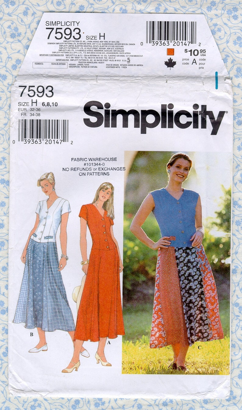 Simplicity 7593 Womens Dress Sewing Patterns, Misses Size 6 8 10 Bust 30 31  32, Princess Seams, long floor length, Vintage 1990s Uncut