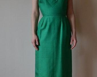 1950's Emerald Green Silk Dress