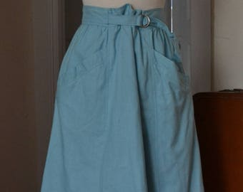 1980s Baby Blue Cotton Skirt