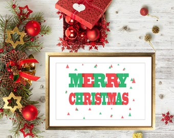 Red & Green Triangles Merry Christmas Art Print