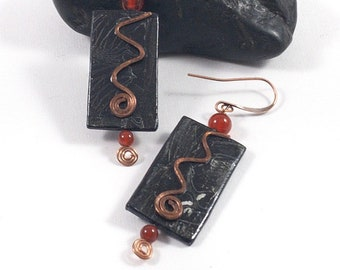 Abstract Black Paper Earrings with Hammered Copper Spiral and Carnelian Beads, Great Paper Anniversary or Birthday Gift