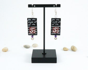 Unique Ohm symbol paper earrings with amethyst and quartz bead