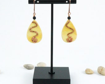 Yellow Teardrop Paper Earrings with Matte Onyx Bead, Hammered Copper Spiral and Copper Ear wire, Free Shipping