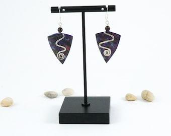 Lightweight purple dangle earrings with garnet bead, artsy colorful geometric earrings, one year anniversary earrings