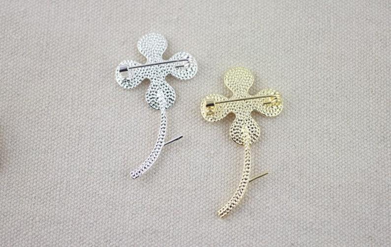 safety pin brooch vintage brass brooch 3pcs raw Brass plating gold flower brooch  cab  finding