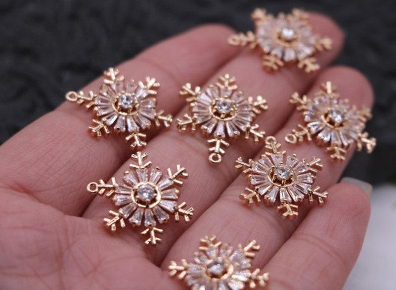 snowflake decoration snowflake decor rhinestone connector snowflake charm snowflake beads sparkle charm  4pcs xsg