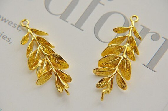 gold leaves pendant 2pcs brass plated gold leaf accessories brass leaves
