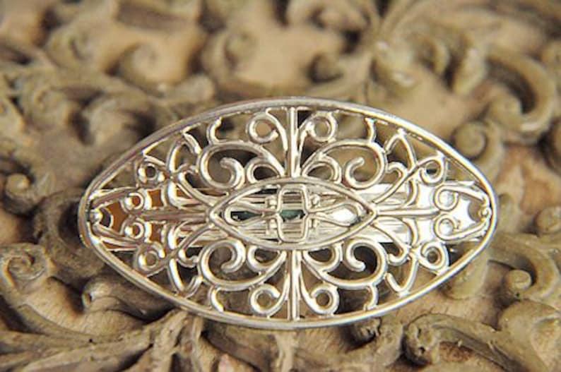 brass hair pin hair clip women 5pcs raw Brass  plating silver  flower Filigree hair comb  pin  finding