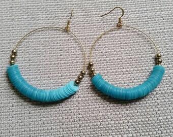 Gold and Turquoise Dangle Hoop Earrings