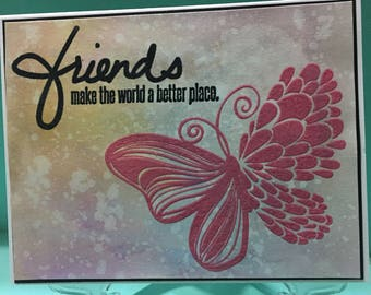 Watercolor Embossed Butterfly Friendship Card