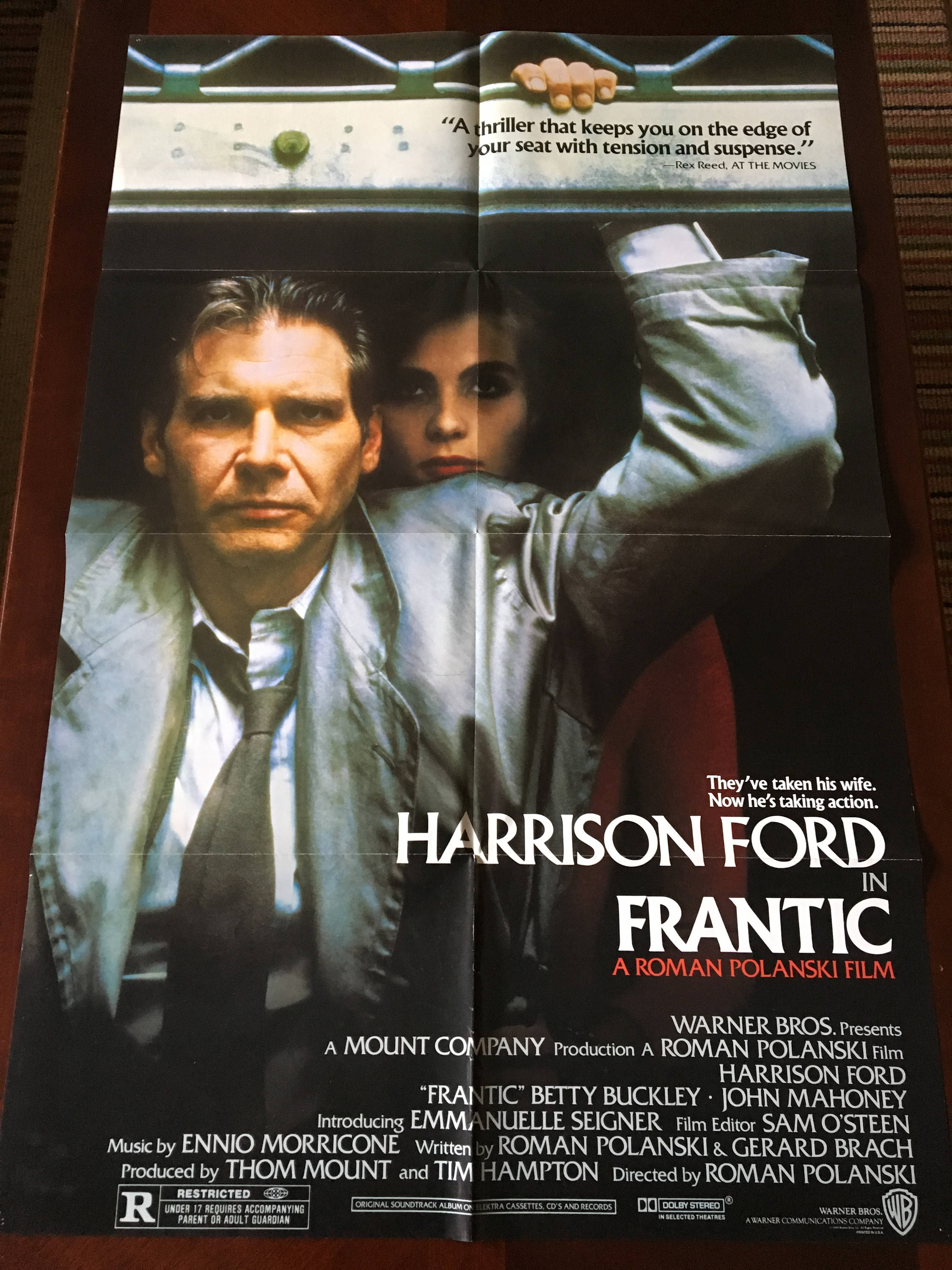 Movie Poster, Frantic directed by Roman Polanski with Harrison Ford