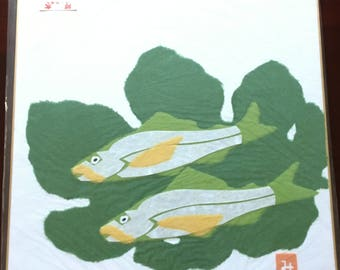 Chigirie Japanese Torn Paper Art of two Fishes.