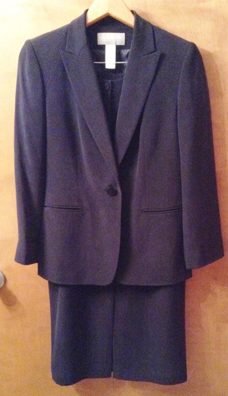 1a278b8727 Black silk suit Liz Claiborne 2 pc with long skirt.   Etsy