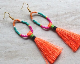 Neon Orange Tassel Earrings, Tiny Beaded Earrings, Handmade Orange Earrings, Neon Earrings, Festival Earrings, Festival Jewelry, Trendy
