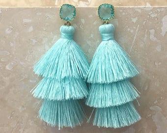 Aquamarine Gemstone Earrings, Seafoam Tassel Earrings,Aqua Blue Gemstone Earrings, Tassle Earrings, Aqua Drop Earrings, Christmas Gift