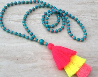 Neon Boho Tassel Necklace, Turquoise Beaded Tassel Necklace, Turquoise Hand Knotted Beaded Tassel Necklace, Neon Hues Tassel Necklaces